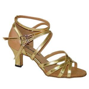 ダンスシューズ・社交ダンスシューズ・レディース【セミオーダー】女性ラテンシューズ・ゴールド162706セミオーダー品ですのであなたにぴったりの1足がつくれますよ♪