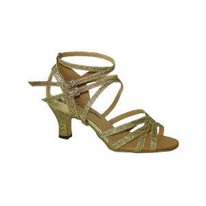 ダンスシューズ・社交ダンスシューズ・レディース【セミオーダー】女性ラテンシューズ・ゴールド・ラメ162707セミオーダー品ですのであなたにぴったりの1足がつくれますよ♪
