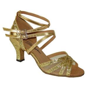 ダンスシューズ・社交ダンスシューズ・レディース【セミオーダー】女性ラテンシューズ・ゴールド・ラメ162715セミオーダー品ですのであなたにぴったりの1足がつくれますよ♪