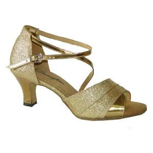 ダンスシューズ・社交ダンスシューズ・レディース【セミオーダー】女性パーティーシューズ・ゴールドラメ165908セミオーダー品ですのであなたにぴったりの1足がつくれますよ♪