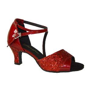 ダンスシューズ・社交ダンスシューズ・レディース【セミオーダー】女性パーティーシューズ・赤レッド・ラメ165909セミオーダー品ですのであなたにぴったりの1足がつくれますよ♪
