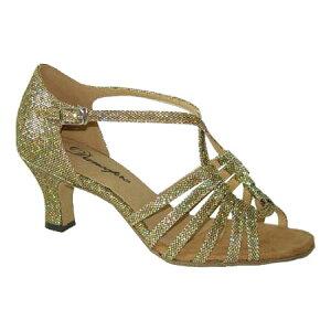 ダンスシューズ・社交ダンスシューズ・レディース【セミオーダー】女性ラテンシューズゴールドラメ166110セミオーダー品ですのであなたにぴったりの1足がつくれますよ♪