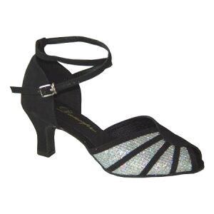 ダンスシューズ・社交ダンスシューズ・レディース【セミオーダー】女性兼用シューズ・黒・ラメ601801セミオーダー品ですのであなたにぴったりの1足がつくれますよ♪
