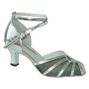 ダンスシューズ・社交ダンスシューズ・レディース【セミオーダー】女性兼用シューズ・シルバー601808セミオーダー品ですのであなたにぴったりの1足がつくれますよ♪