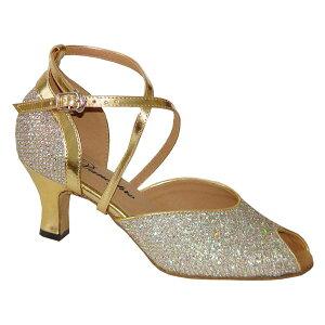ダンスシューズ・社交ダンスシューズ・レディース【セミオーダー】女性兼用シューズ・ゴールド・ラメ603601セミオーダー品ですのであなたにぴったりの1足がつくれますよ♪