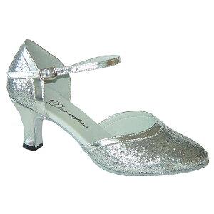 ダンスシューズ・社交ダンスシューズ・レディース【セミオーダー】女性パーティーシューズ・シルバー・ラメ681204セミオーダー品ですのであなたにぴったりの1足がつくれますよ♪