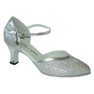 ダンスシューズ・社交ダンスシューズ・レディース【セミオーダー】女性兼用シューズ・シルバー・ラメ681206セミオーダー品ですのであなたにぴったりの1足がつくれますよ♪