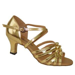 ダンスシューズ・社交ダンスシューズ・レディース【セミオーダー】女性ラテンシューズ・ゴールド165001セミオーダー品ですのであなたにぴったりの1足がつくれますよ♪