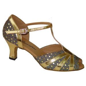 ダンスシューズ・社交ダンスシューズ・レディース【セミオーダー】女性兼用シューズ・ゴールド・ラメ500500セミオーダー品ですのであなたにぴったりの1足がつくれますよ♪