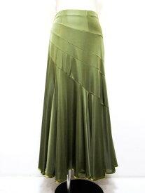 ロングスカート(L)N58 リンド  社交ダンス レッスン パーティー 衣装 エスカルゴ カーキ 艶やか 光沢 ニット 素材