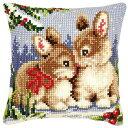ベルバコ クロスステッチ 刺繍キット 【冬のうさぎのクッション】 動物 ベルギー