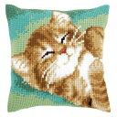 ベルバコ クロスステッチ 刺繍キット 【猫のクッション】 動物 ベルギー