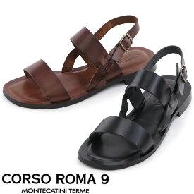CORSO ROMA 9 サンダル コルソローマノーヴェ フラット ストラップ ベルト 本革 春夏 レディース 012/v shoes fsandal 36/37/