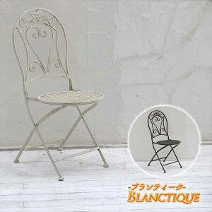 ガーデンニング ブランティーク ホワイトアイアンチェア 2脚セット【代引不可商品】【送料無料】【smtb-k】