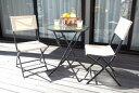 【送料無料】折りたたみチェアと折りたたみガラステーブルのガーデン3点セット       ガーデン ガーデニング テーブルセット 椅子 テーブル フォールディング 折り畳み ガーデンセット ガーデンテー