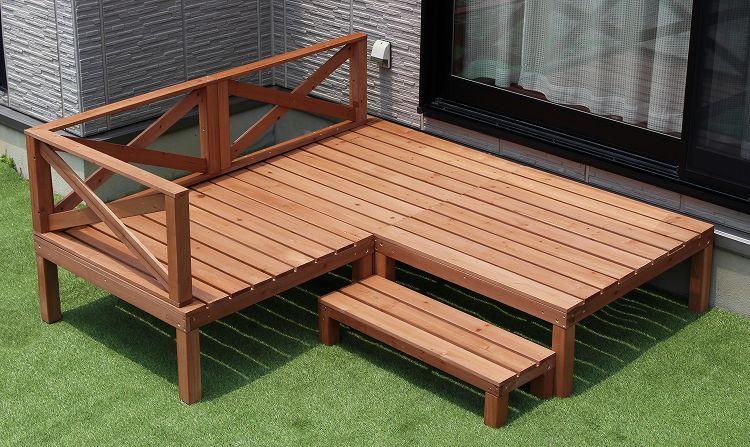 ウッドデッキ 0.25坪 90×90cm  ウッドテラス デッキセット 木製デッキ 木製ステップ 天然木 デッキ 縁台 エクステリア ガーデン ガーデニング 木製縁台 テラス 組み合わせ