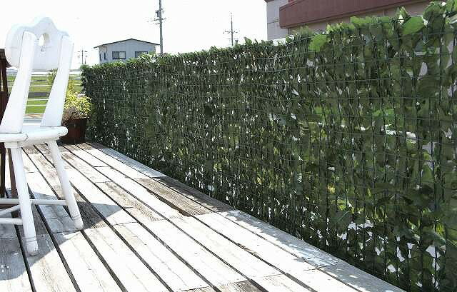 目隠しグリーンフェンス ★ダークグリーン色★ 1m×3m   カーテン ベランダ テラス 簡単取付 日差し サンシェード 対策 格子 メッシュ 日よけ DIY 壁面緑化 ガーデニング 園芸 深緑 エクステリア 3m ガーデン フェイクグリーン ラティス