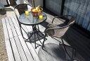 籐風チェアとガラステーブルのガーデン3点セット     ガーデンセット ガーデニング テーブルセット 椅子 テーブ…