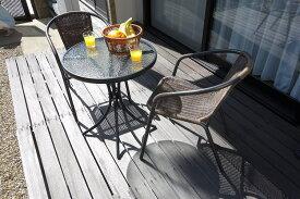 籐風チェアとガラステーブルのガーデン3点セット  ガーデンセット ガーデニング テーブルセット 椅子 テーブル ラタン調 おしゃれ 編み込み 屋外 ベランダ バルコニー リラックス ガーデンファニチャー ガーデンセット ラウンドテーブル b12 外出自粛