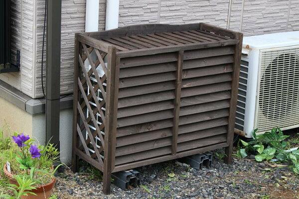 木製エアコン室外機カバールーバータイプエアコンラックエアコンカバー室外機ラック花台フラワースタンド遮光日よけ節電節約ウッディ木目