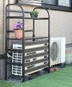 アルミ製 エアコン室外機カバー 棚付き    エアコンラック エアコンカバー 室外機ラック エクステリア ガー…