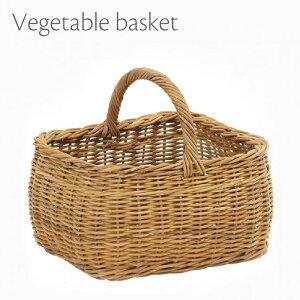 ラタンバスケット ベジタブルバスケット 籐 買い物かご 取っ手付き 角 バッグ 天然素材 かわいい おしゃれ ナチュラル 北欧 小物収納 スリッパ収納 玄関収納 キッチン