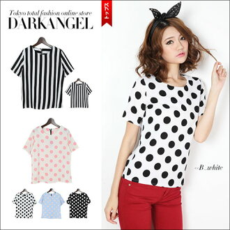 I wear the basic pattern in only one-style! Dot / stripe short sleeves T-shirt / Lady's short sleeves T-shirt cut-and-sew dot stripe waterdrop tops DarkAngel/ dark angel