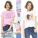 Tシャツ ロゴtシャツ プリントtシャツ レディース カットソー 半袖 シンプル カジュアル ユニセックス ホワイト ピンク オレンジ ラベンダー ベージュ ブルー FREEサイズ 大きいサイズ 春夏