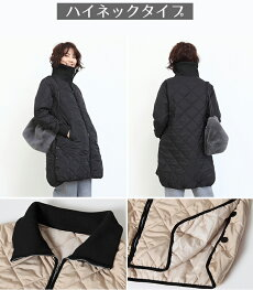キルティングコートキルティングジャケットコートハイネックラウンドネック黒カーキホワイト