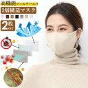 マスク 3層構造 高機能フィルター入りマスク 不織布 【2枚入り】 洗えるマスク 布 防菌 花粉対策 防臭 撥水 蒸れない …