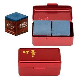 ビリヤードチョーク メイヒン チョーク 2個入り 箱/赤 (MEIHIN Chalk Alumi Case Red)
