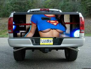 ピックアップトラック テールゲート デカール ステッカー汎用品 GAL セクシー スーパーマン [タンドラ][タコマ][シルバラード][ラムトラック][ラプター]などに [アメ車][逆輸入車][