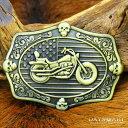 アメリカ国旗バックル バイク アメリカン メタルバックル ゴールド バイカー レザーベルト クロム 本革 メンズ レザー…