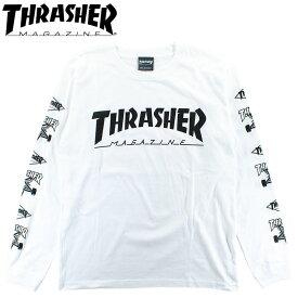 ロンT メンズ スラッシャー 袖ロゴ 定番 ロングスリーブTシャツ スケートボード ストリート系 THRASHER TH93159 MULTI-E