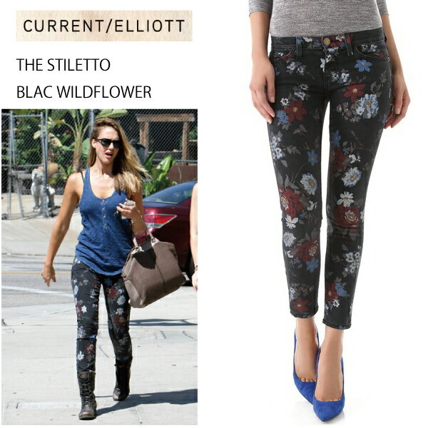 送料無料即納 Current Elliott カレントエリオット ブラックワイルドフラワー スキニーデニム Black Wildflower Jeans denim レディース クロップド ロールアップ ジーンズ ジェシカ・アルバ愛用 ボタニカル柄 1280-0443