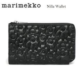 marimekkoマリメッコ NILLA 046482 ウニッコ型押しレザージップウォレット 財布 BLACK ブラック