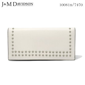 J&M DAVIDSON 小銭入れ付き二つ折りスタッズ長財布 ニューホワイト SMALL GRAIN LEATHER NEW STUDS WALLET 10081n 7470 0150 NEW WHITE 白 ジェイアンドエムデヴィッドソン