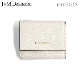 J&M DAVIDSON 小銭入れ付き 三つ折りサイフ 2 FOLD WALLET NEW WHITE ジェイアンドエム デヴィッドソン 白 SMALL GRAIN LEATHER 10149 7470 9990