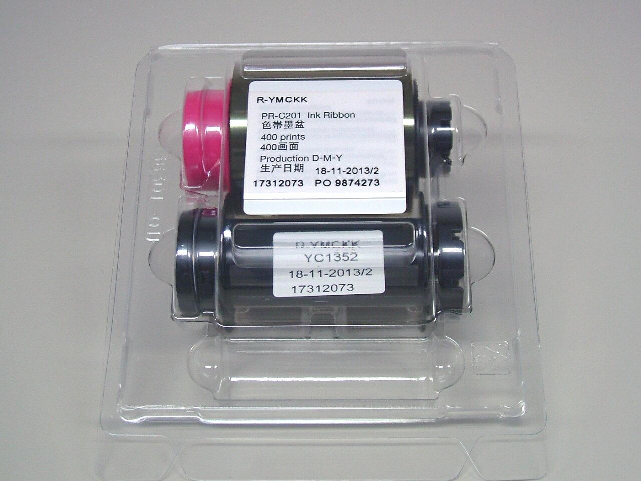 裏面墨付再転写用カラーリボン YMCKK(表カラー裏ブラック) 400枚/巻 (再転写式カードプリンタPR-C201用)