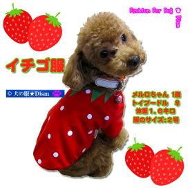 犬服 イチゴ服(超小型犬・小型犬・中型用犬)【犬の服2点購入でメール便送料無料】ストロベリー ドッグウェア