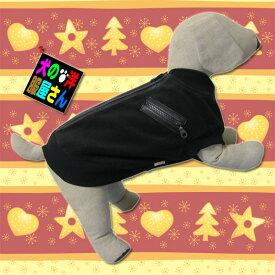 犬服 フリースジャンパー ブラック(小型犬、中型犬用)【犬の服2点購入でメール便送料無料】防寒着 ドッグウェア ジャケット 秋冬服 チワワ トイプードル ミニチュアダックス 柴犬等
