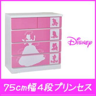 Disney chest 75 cm width 4-silhouette (Disney Princess) ディズニータンス Disney Princess toy chest Cinderella Ariel Aurora Princess snow white Belle Jasmine ベビーダンス