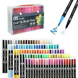 MR:Kesote カラーペン 筆ペン 水性ペン 100色 コピック ペン 極細 毛筆両用 イラストペン 水彩ペン 水彩毛筆