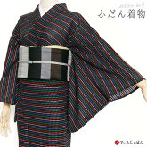 デニム洗える着物刺しゅう花椿ふだん着物グレー青仕立上がりプレタ日本製