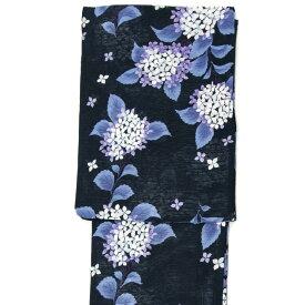 綿絽浴衣 単品 あじさい 黒 青紫 白 レディース 30代 40代 50代 女性用 花 紫陽花 レトロ 古典柄 夏着物