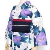 綿絽浴衣単品芙蓉紫おふ白青緑葉草花古典レトロ夏着物レディース女性用50代