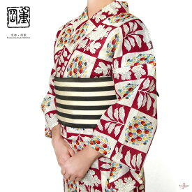 【10%offクーポン配布中!】綿絽浴衣 岡重 赤 鶏頭 レディース 30代 40代 50代 クリーム モダン 綿 女性用
