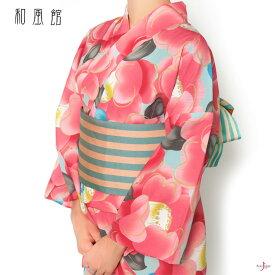 浴衣 和風館 セオアルファ 椿 レディース 30代 40代 50代 花 ピンク 水色 モダン 女性用 仕立上がり 単品