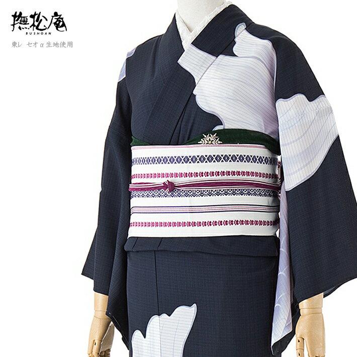 撫松庵 浴衣 セオアルファ 絵羽 金魚 紺 白 ふじ レディース レトロ モダン