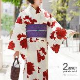 浴衣2点セット綿薔薇変わり織りオフ白クリーム赤花バラモダン半幅帯古典柄夏着物